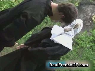 Slutty French Nun Fucked Outside Porno