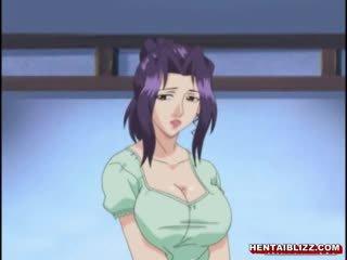 Jepang animasi pornografi mama dengan besar jugs gets kacau oleh tua orang
