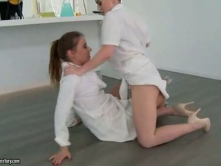 Two sexy girls fighting and making love