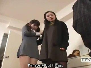 Subtitle cfnm japonez scolarita și milf captură peeper