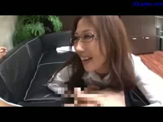 Office Lady With glasses Giving bj For...