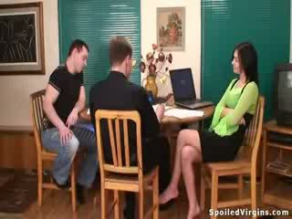 Busty brunette virgin becomes a woman on