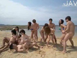 brunette, japanese, group sex, cumshot, ass, amateur