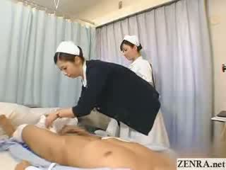 Warga jepun jururawat practices beliau goncang zakar teknik