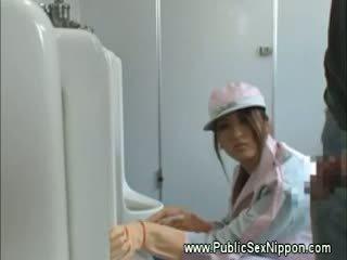 Japense cleaner loves sik at work