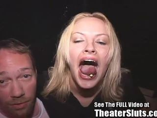 Cute Blonde Banged In Porn Theater Orgy!