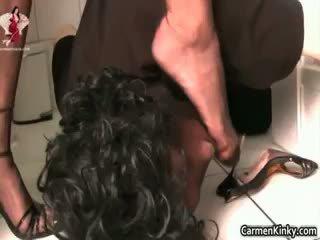 bruneta, análny, femdom