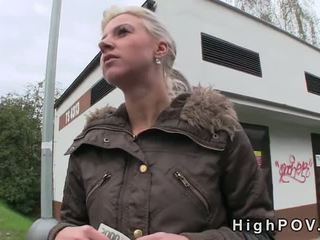 Blonde amateur blowjob POV in public