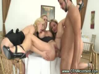 Group of CFNM milfs fucking the waiter