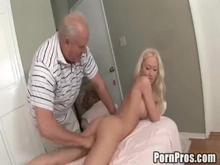 Juvenile Wench Gives Massage And Pussy To Old Guy.