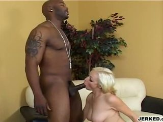 Hawt Blond AdriAnna Nicole Gagging A Massive Black Meat