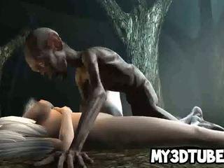 Hvit haired 3d babe gets knullet hardt av an alien