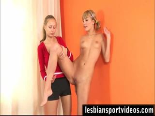 Her 1st Stripped Sports Training And Lesbo Sex