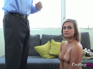 Blonde with sexy smile and natural tits at the casting.