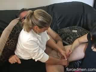 Mom and daughter tandems in masturbating a lucky naked man