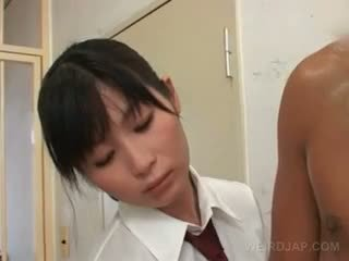 Sexy Asian Police Women Rubbing Their Prisoners Hairy Cocks