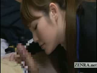 Japan milf sextoy saleswoman gives old client a bj