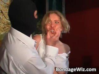 Tied blond gets arsch spanked und titten