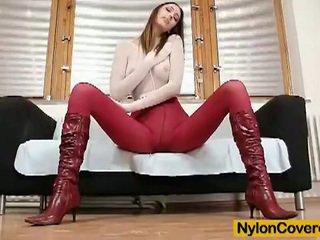 Skinny blonde pamela dildoing cunt in nylon