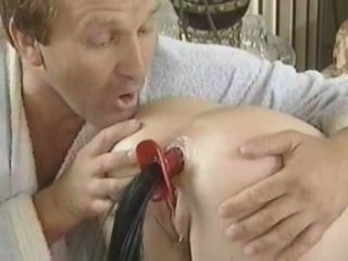 Brutal anal dildo treatment, by a Doctor