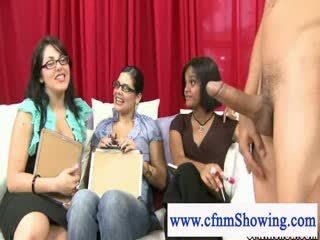 Cfnm girls laughing at Naked mans shaft