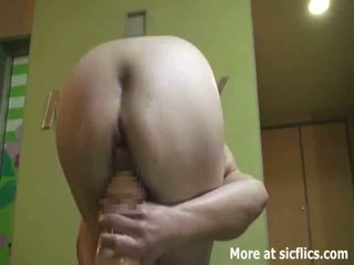 Gigantic anal and vaginal dildo penetrations