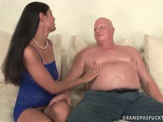 Fat grandma fucks naughty young girl