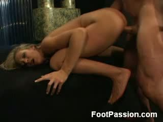 Cute Blonde Plays Footsie with Cock