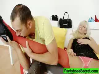Nylon Bitch Bella Morgan Fucking In Pantyhose
