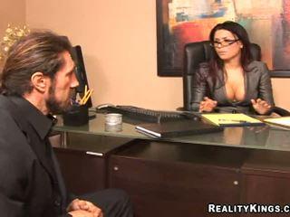 okuliare, príťažlivé veľké prsia, online kancelária vy