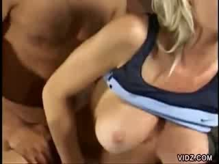 Busty Barbie Blazer checks out guys in gym