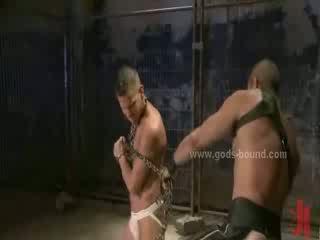 Men bound in deposit get used as sexual toys in hard bondage slavery sex