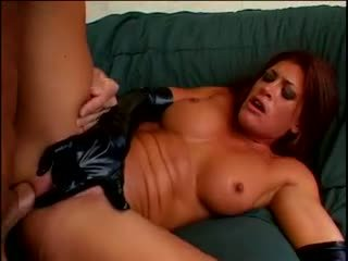 Hot brunette in latex gloves gets fucked in all her holes by Lee Stone