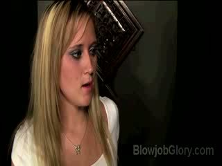 chick Blonde Briella blows reverends dong thru confessionals Glory hole