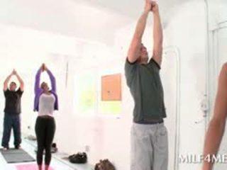 Chesty MILF Seducing Hot Teen Blonde Guy At A Yoga Class