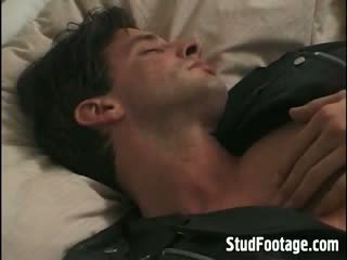 Biker gay boy wakes up horny and jerks off until he cums all over his bed!