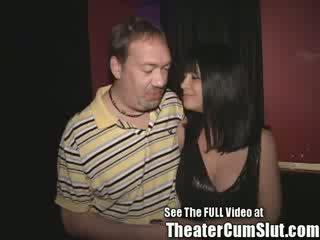 Big Titty Brunette MILF Slut Gets Anal Creampies From Porn Theater Strangers