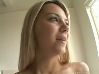 Sexy blonde Ashlynn Brooke receives a warm spray of jizz