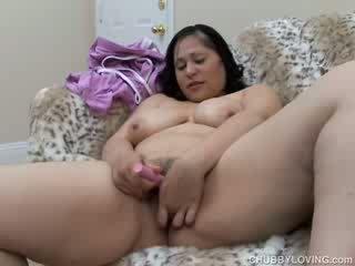 Cute busty BBW has a bushy pussy
