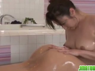 Japanese Matures: Massage and hot fuck in bathroom with mature babe