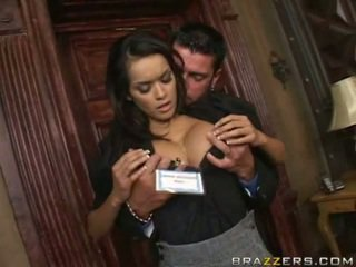 Sexy flirtatious assistant does what she's told
