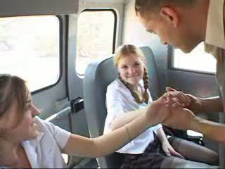 Schoolgirls fucked in the bus Video