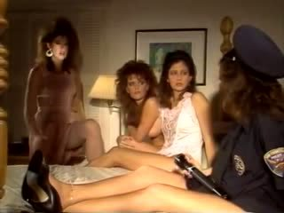 Sex mad girlfriends of 1980s porn fuck in bed