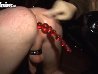 Blonde mistress toying slave's ass hole