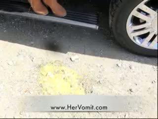 Car Sick Girl Vomit Puke Puking Barf Gagging