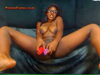 Double toy ebony slut
