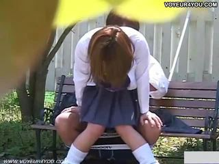 Two Japanese Teen Couples Outdoor Sex