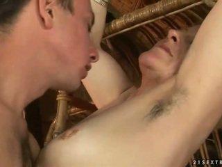Grandma and boy enjoying hot sex