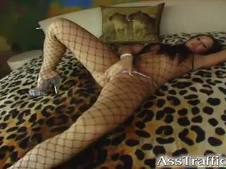 Brunette In Fishnets Loves Anal Fucking And Facial