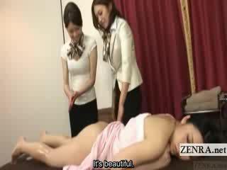 Subtitled Japanese lesbian butt oil massage training